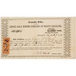 Lewis Gold Mining Company of North Carolina Stock Transfer Certificate
