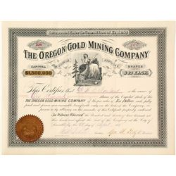 The Oregon Gold Mining Co. of Louisville, KY Stock Certificate, 1887 (Cornucopia, OR)