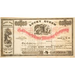 Lucky Queen Gold & Silver Mining Co. Stock Certificate, Josephine County, OR 1876