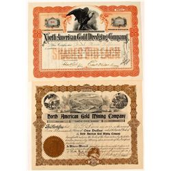 "Two ""North American Gold"" Mining Stock Certificates (Oregon & Colorado)"
