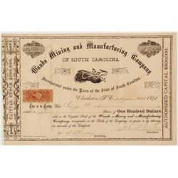 Wando Mining and Manufacturing Company of South Carolina Stock Certificate