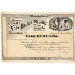 West Mining Company Printer's Proof Stock Certificate