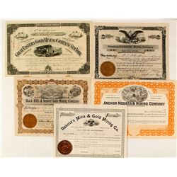 Five Dakota Mining Stock Certificates