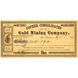 Gopher Consolidated Gold Mining Co. Stock Certificate, Dakota Territory, 1880