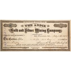 The Addie Gold & Silver Mining Co. Stock Certificate, Black Hills, Dakota Territory, 1878