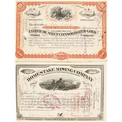 Two J.B. Haggin Signed Dakota Mining Stock Certificates