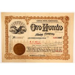 Oro Hondo Mining Co. Stock Certificate, Lead City, SD, 1903