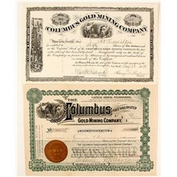 Two Different Columbus Gold Mining Co. Stock Certificates, Black Hills, Dakota