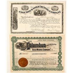 Two Different Columbus Gold Mining Co. Stock Certificates, Black Hills, Dakota