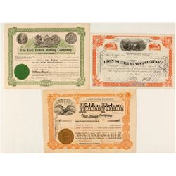 Two South Dakota Mining Stock Certificates Plus One Colorado