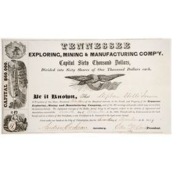 Tennessee Exploring, Mining, and Manufacturing Company Stock Certificate, 1849