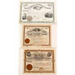 Three Different Utah Mining Stock Certificates
