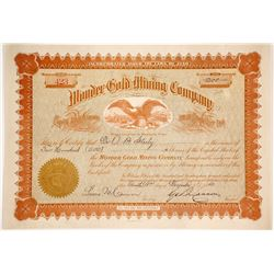 Wonder Gold Mining Stock with George Q Cannon Signature