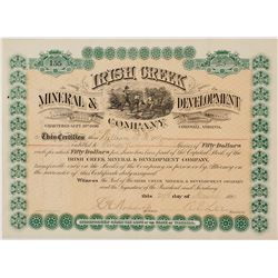 Irish Creek Mineral & Development Company Stock Certificate