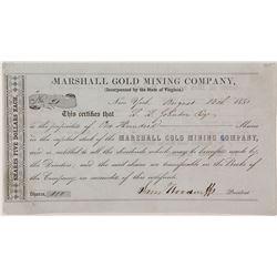 Marshall Gold Mining Company Stock Certificate