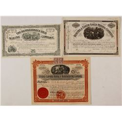 Three Virginia Mining Stock Certificates