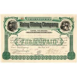 Rainy Mining Company Stock Certificate, Monte Cristo, WA, 1898
