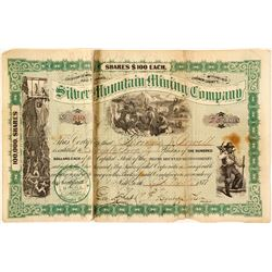 Silver Mountain Mining Co. Stock Certificate, 1877, Carbon County, WY