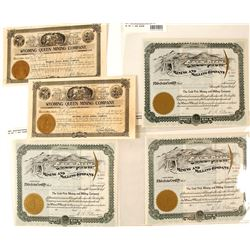 Five Wyoming Mining Stock Certificates