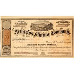 Arbitrios Mining Co. Stock Certificate Issued to Charles Duisenberg, Batopilas District, 1864