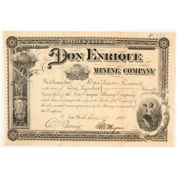 Don Enrique Mining Company Stock Certificate, Chihuahua 1888