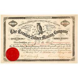 The Tecolote Silver Mining Company Stock Certificate, Santa Barbara, Mexico 1884