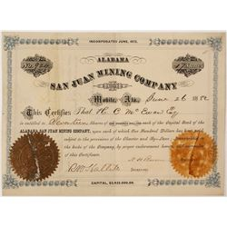 Alabama San Juan Mining Company Stock Certificate