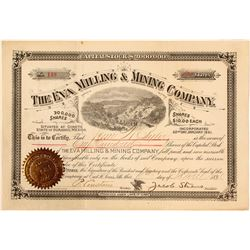 The Eva Milling & Mining Co. Stock Certificate, Durango, 1891