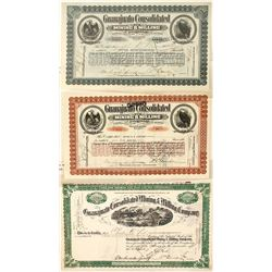 Three Different Guanajuato Cons. Mining & Milling Co. Stock Certificates
