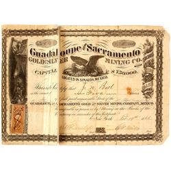 Guadaloupe & Sacramento Gold & Silver Mining Co. Stock Certificate, 1866, Sinaloa, Mexico