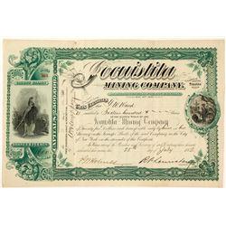 Jocuistita Mining Co. Stock Certificate, Sinaloa, 1882