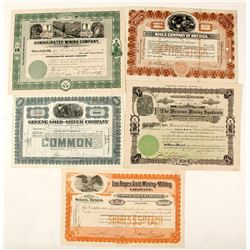 Five Different Mexican Mining Stock Certificates