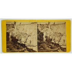Miner Amongst Hydraulic Mining Works Stereoview