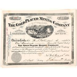 The Gold Placer Mining Company Stock Certificate, 1881