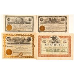 Four Different Gold Mining Stock Certificates