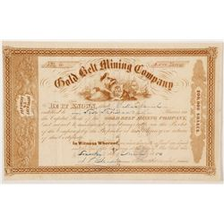 Gold Belt Mining Company Gold Rush Era Stock Certificate