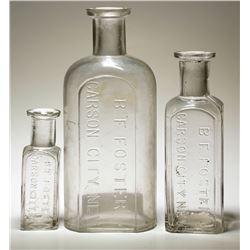 Three Different B. F. Foster Carson City Drug Bottles