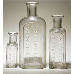 Three Different B. F. Foster Carson City Drug Bottles
