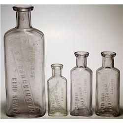 Four S.J Hodgkinson Bottles, Reno, Nev.