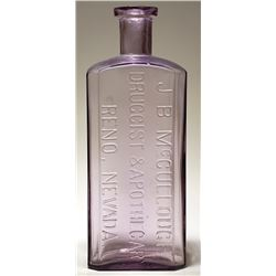 J. B. McCullough Druggist & Apothecary Bottle (Reno, Nevada)