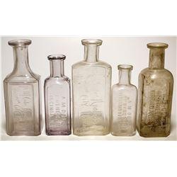 Five A. M. Cole Apothecary Bottles (Virginia City, Nevada)