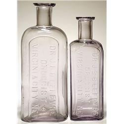 Two Dr. J. B. B. Lefevre Druggist Bottles (Virginia City, Nevada)