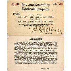 Ray & Gila Valley Railroad Company Annual Pass, 1926 (Copper Mining)