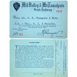 Mill Valley & Mt. Tamalpais Scenic Railway Pass (1912)