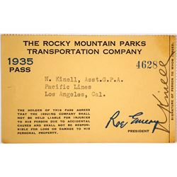 Rocky Mountain Parks Transportation Co. Pass, 1935