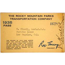 Rocky Mountain Parks Transportation Co. Pass, 1935