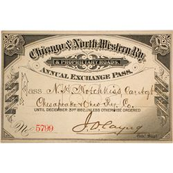 Chicago & North Western Railway Pass, 1882