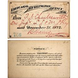 Chicago, Burlington, & Quincy Railroad Pass, 1872