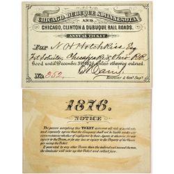 Chicago, Dubuque & Minnesota and Chicago, Clinton & Dubuque Rail Roads Pass, 1876