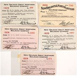 Five New Orleans Great Northern Railroad Company Passes, 1924-1926